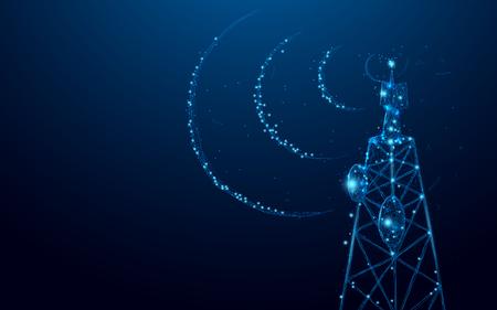Nadajnik sygnału telekomunikacyjnego, wieża radiowa z linii i trójkątów, punkt łączący sieć na niebieskim tle. Ilustracja wektorowa