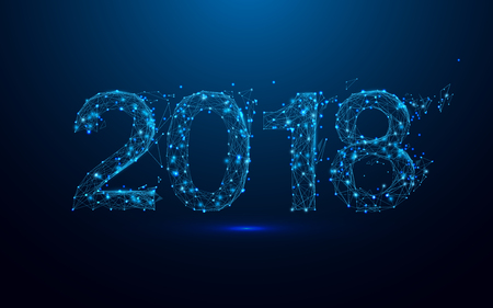 Happy new year 2018 and triangles, point connecting network on blue background. Illustration vector