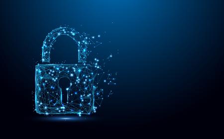 concept de la cyber-sécurité . verrouillage de la serrure des lignes et le réseau de contrôle de points de données sur fond bleu. illustration vectorielle