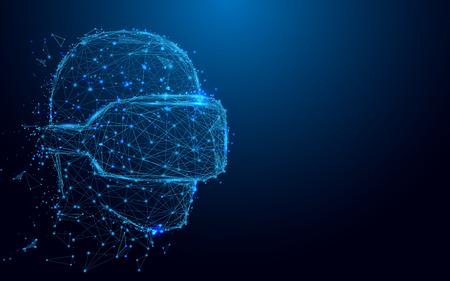 VR ヘッドセット記号でワイヤ フレーム男、星空からメッシュし、概念の背景を開始します。将来の技術コンセプト