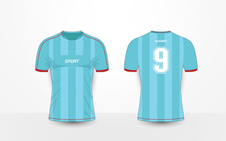 Blue stripe and red pattern sport football kits, jersey, t-shirt design template