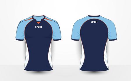 Blauwe, witte en oranje lijnen sport voetbal kits, jersey, t-shirt ontwerpsjabloon Stock Illustratie