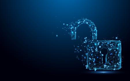 Koncepcja bezpieczeństwa Cyber Unlock. Symbol kłódki tworzą linie i trójkąty, punkt łączący sieć na niebieskim tle. Ilustracji wektorowych