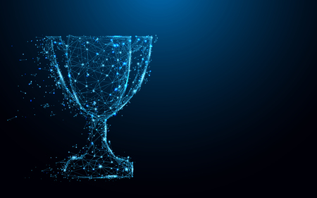 Abstract Trophy cup form lines and triangles, point connecting network on blue background. Illustration vector Illustration