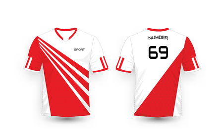 Red and White stripe pattern sport football kits, jersey, t-shirt design template Illustration