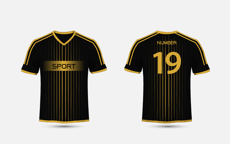 Black and gold pattern sport football kits, jersey, t-shirt design template 向量圖像