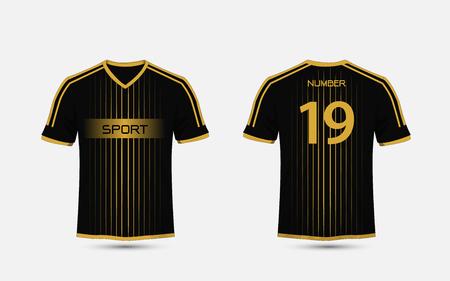 Black and gold pattern sport football kits, jersey, t-shirt design template Illustration