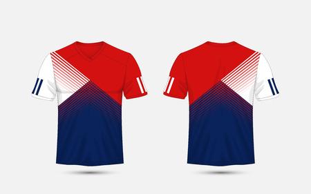 Blue, White and blue stripe pattern sport football kits, jersey, t-shirt design template 일러스트
