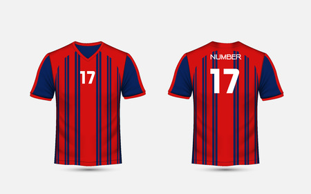 Red and blue stripe pattern sport football kits, jersey, t-shirt design template