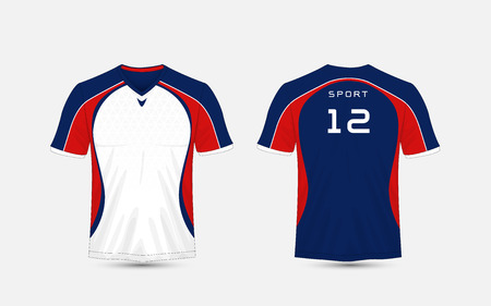 White, blue and red stripe pattern sport football kits, jersey, t-shirt design template