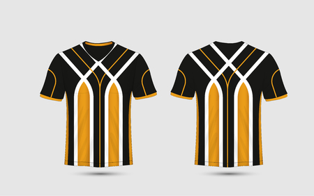 Black, White and orange stripe pattern sport football kits, jersey, t-shirt design template