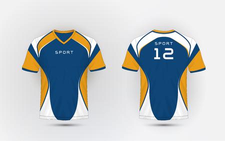 Blue, White and orange stripe pattern sport football kits, jersey, t-shirt design template Illustration