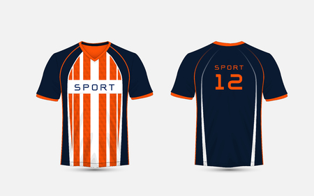 Blue, White and orange stripe pattern sport football kits, jersey, t-shirt design template Ilustrace