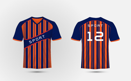 Blue and orange pattern sport football kits, jersey, t-shirt design template