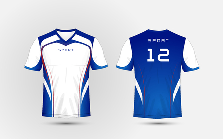 white, Blue and red lines pattern sport football kits, jersey, t-shirt design template Stock Illustratie