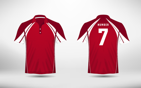Red an white lines layout football sport t-shirt, kits, jersey, shirt design template.