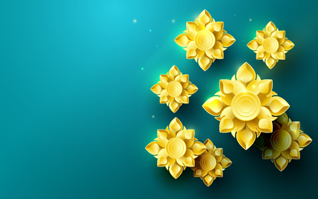 Gold abstract flowers asian pattern in green backdrop