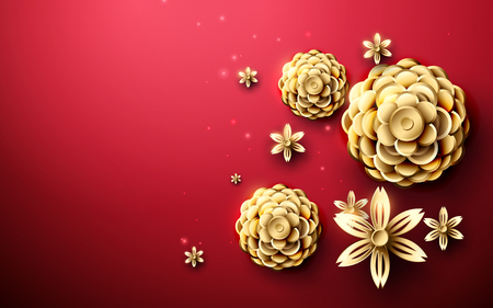 Gold abstract flowers asian pattern in red backdrop