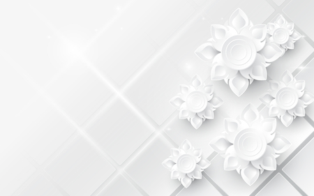 White abstract flowers asian pattern background