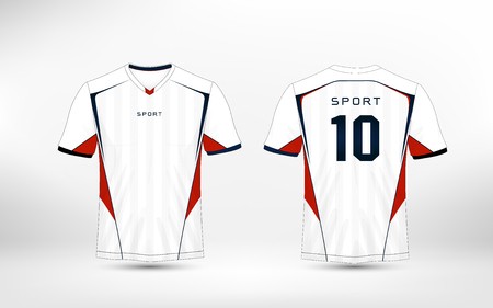 White, red and blue pattern sport football kits, jersey, t-shirt design template Ilustrace