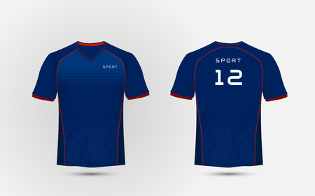Blue and red lines layout football sport t-shirt, kits, jersey, shirt design template Stock Illustratie