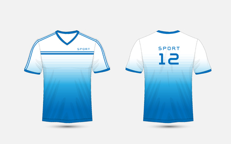 Blue and white lines layout football sport t-shirt, kits, jersey, shirt design template