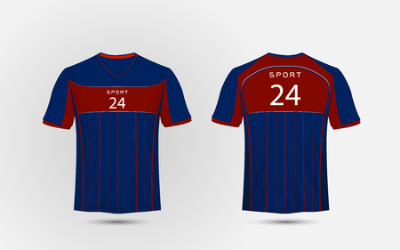 Blue and red lines layout football sport t-shirt, kits, jersey, shirt design template.