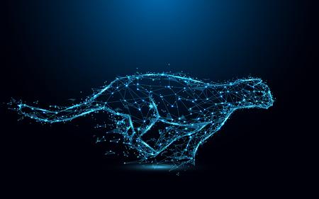 Blue line illustration of a cheetah running on a dark blue background.