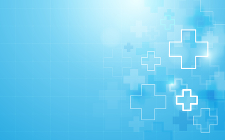 Abstract geometric medical cross shape medicine and science concept background. 일러스트