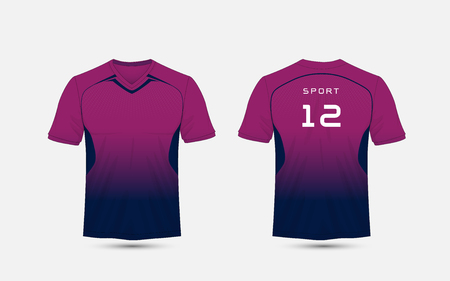 Purple and blue layout football sport t-shirt, kits, jersey, shirt design template. Stock Illustratie