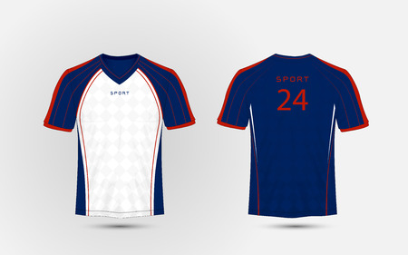 Blue, white and red lines layout football sport t-shirt, kits, jersey, shirt design template.