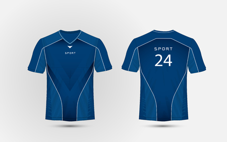 Blue and white layout football sport t-shirt, kits, jersey, shirt  design template Stock Illustratie