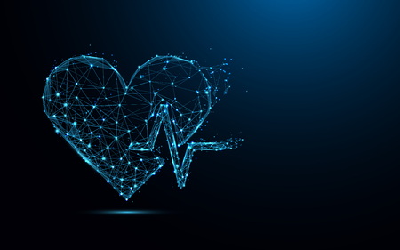 Abstract heart beat form lines and triangles, point connecting network on blue background. Illustration vector Stok Fotoğraf - 99913937