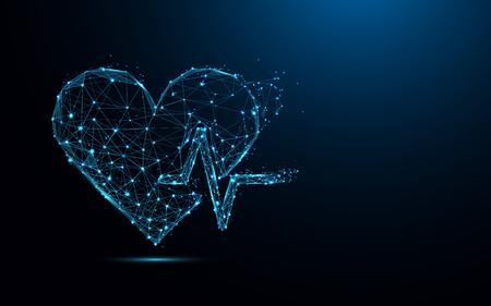 Resumen corazón latido forma líneas y triángulos, punto de conexión de red sobre fondo azul. Vector de ilustración