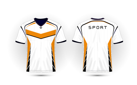 White, orange and black layout football sport t-shirt, kits, jersey, shirt  design template