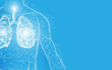 Anatomie der menschlichen Lunge in Form von Linien