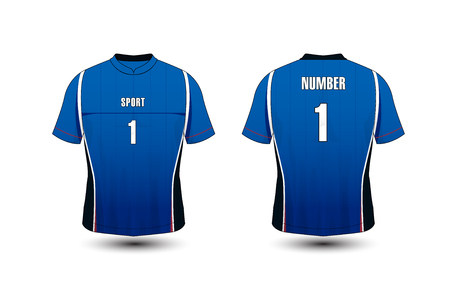 Blue and white layout sport t-shirt, kits, jersey, shirt design template