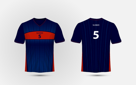 Blue and red layout sport t-shirt, kits, jersey, shirt design template