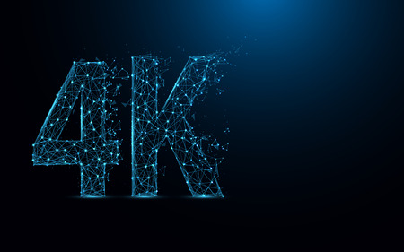 4K ultra HD icon form lines and triangles, point connecting network on blue background. Vettoriali
