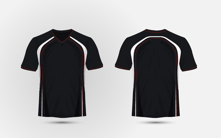 Black and white, red layout sport t-shirt, kits, jersey, shirt design template Stock Illustratie