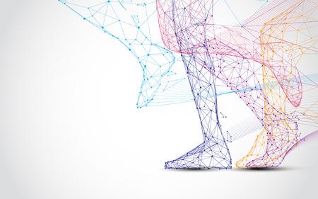 Gros plan des jambes du coureur exécutent des lignes et des triangles, point de connexion réseau sur fond bleu. Vecteur d'illustration Vecteurs