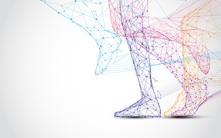 Nahaufnahme der Beine des Läufers laufen Formlinien und Dreiecke, Punkt, der Netzwerk auf blauem Hintergrund verbindet. Illustrationsvektor Vektorgrafik