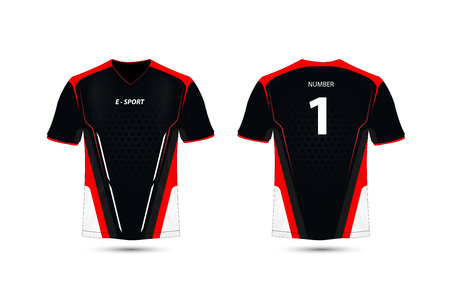 Black, Red and white layout e-sport t-shirt design template Stock Illustratie
