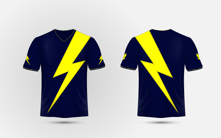 Blue and yellow layout sport shirt design template. Lightning, electric power concept design