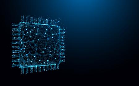 La puce du processeur forme des lignes, des triangles et une conception de style particule. Vecteur d'illustration Vecteurs