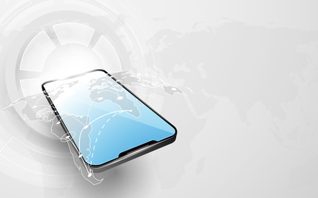 Smarthphone with world map connection and Abstract technology digital hi tech background Vectores