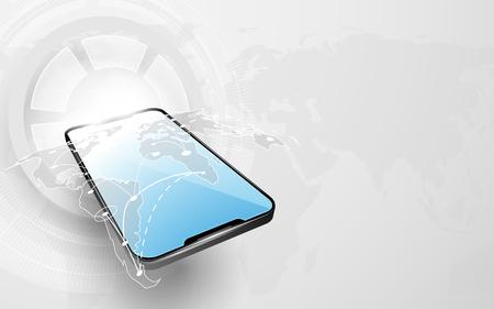 Smartphone con conexión de mapa del mundo y fondo de alta tecnología digital de tecnología abstracta