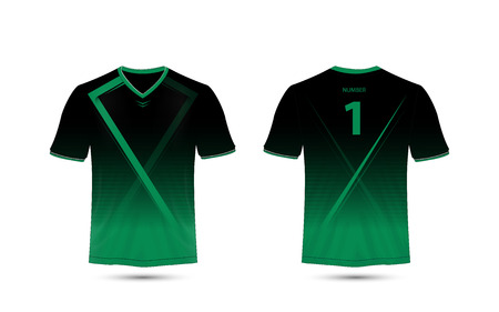 Black and green layout sport t-shirt design template Stock Illustratie