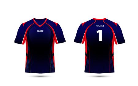 Zwart, rood en blauw lay-out e sport t-shirt ontwerpsjabloon Vector Illustratie