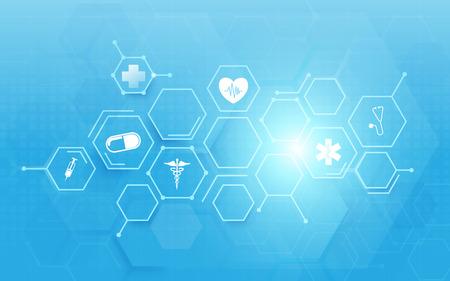 Medizin und Wissenschaft mit abstrakten digitalen Hi-Tech-Sechsecken auf blauem Hintergrund